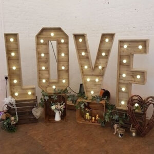 light up letters wedding hire